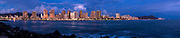 Super high resolution 5x1 panorama of Waikiki, Hawaii skyline at evening. For wall mural applications up to 50 ft.
