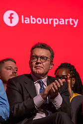 © Licensed to London News Pictures. 26/09/2018. Liverpool, UK. Labour Party Deputy Leader Tom Watson MP on stage during Jeremy Corbyn's closing speech at the Labour Party Conference. Photo credit: Rob Pinney/LNP