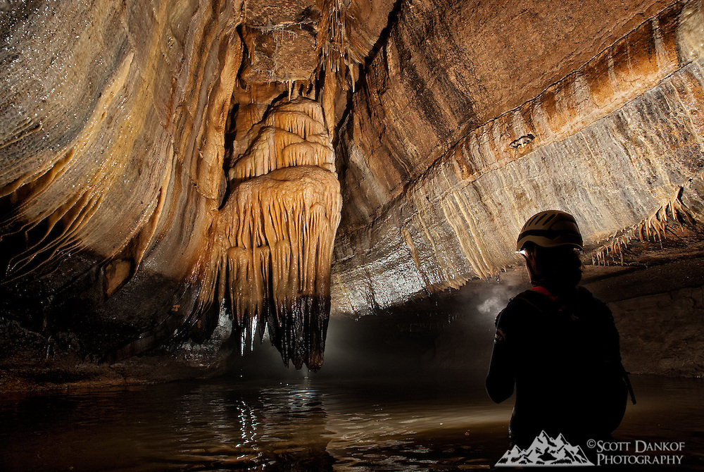 Large formation in Coldwater Cave, Iowa.