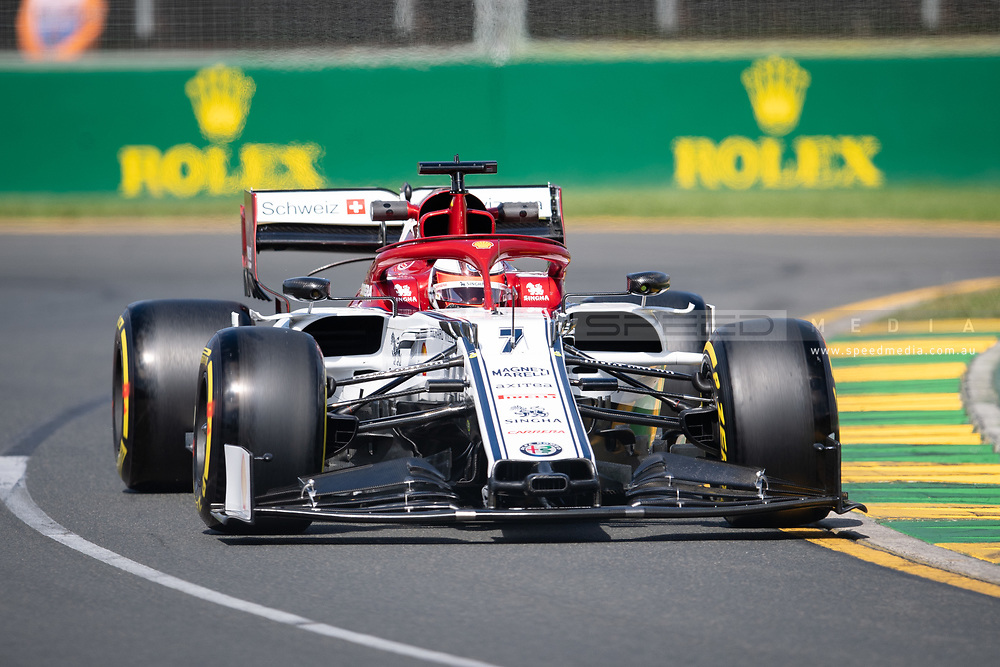 ALBERT PARK, VIC - MARCH 15: Alfa Romeo Racing driver Kimi Raikkonen (7) at The Australian Formula One Grand Prix on March 15, 2019, at The Melbourne Grand Prix Circuit in Albert Park, Australia. (Photo by Speed Media/Icon Sportswire)