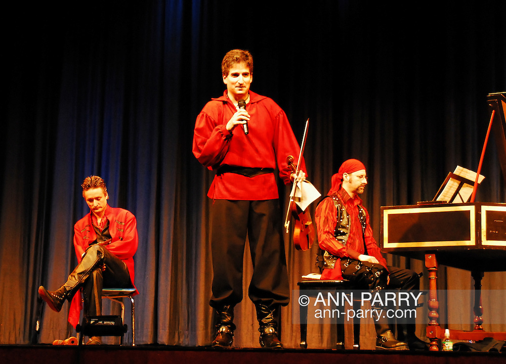 Merrick, New York, USA. February 17, 2008. Red Priest, baroque music group with recorder player PIERS ADAMS, cellist ANGELA EAST, harpsichord player HOWARD BEACH, and violinist DAVID GREENBERG performs in concert presented by Merrick Bellmore Community Concert Association MBCCA, at Calhoun High School.