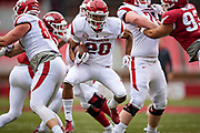FAYETTEVILLE, AR - MARCH 6:   Jordon Curtis #20 of the Arkansas Razorbacks runs the ball up the middle during the annual Spring Game at Razorback Stadium on March 6, 2019 in Fayetteville, Arkansas.  (Photo by Wesley Hitt/Getty Images) *** Local Caption *** Jordon Curtis