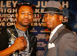 "March 25, 2008; New York, NY, USA;  ""Sugar"" Shane Mosley (l) and Zab Judah (r) pose at the press conference announcing their May 31, 2008 welterweight fight.  The two will meet at Mandalay Bay in Las Vegas, NV."