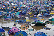 A field of flooded tents at the very wet 2005 Glastonbury festival