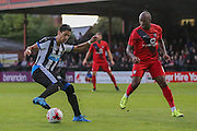 Ayoze Perez and Anthony Straker during the Pre-Season Friendly match between York City and Newcastle United at Bootham Crescent, York, England on 29 July 2015. Photo by Simon Davies.