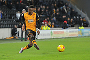 Hull City midfielder Moses Odubajo (2) crosses ball  during the Sky Bet Championship match between Hull City and Charlton Athletic at the KC Stadium, Kingston upon Hull, England on 16 January 2016. Photo by Ian Lyall.