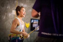 Jain Kim (KOR) overall winner during women final competition of IFSC Climbing World Cup Kranj 2014, on November 16, 2014 in Arena Zlato Polje, Kranj, Slovenia. (Photo By Grega Valancicr / Sportida.com)