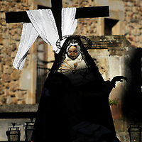 An image of Our Lady of Sorrow is carried by penitents as they parade during the Maundy Thursday procession on April 17, 2014 in the northern Spanish Basque village of Segura.  PHOTO/ RAFA RIVAS