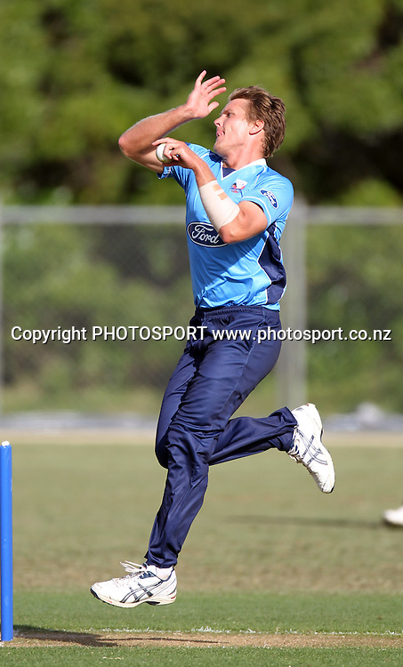 Aces bowler Michael Bates bowling.<br />