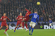 Naby Keita (8) gets a clearing header during the Premier League match between Leicester City and Liverpool at the King Power Stadium, Leicester, England on 26 December 2019.