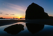 Haystack rock at sunset, Cannon Beach, Oregon
