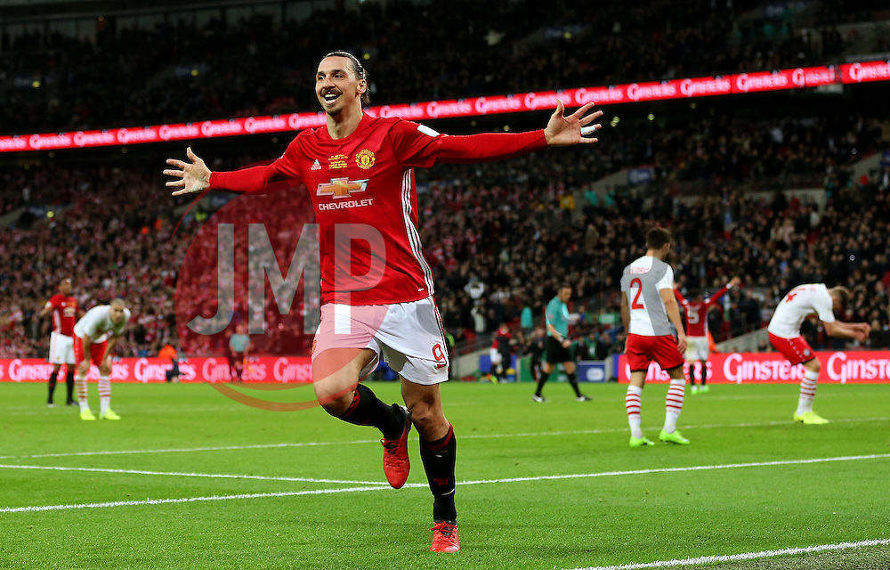 Zlatan Ibrahimovic of Manchester United celebrates after scoring his sides third goal  - Mandatory by-line: Matt McNulty/JMP - 26/02/2017 - FOOTBALL - Wembley Stadium - London, England - Manchester United v Southampton - EFL Cup Final
