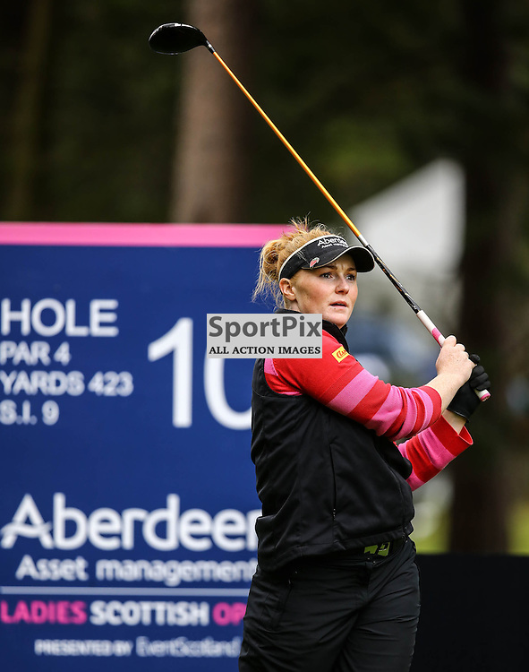 Kylie Walker (Scotland) watches her tee shot at 10th as she chases the leaders. Aberdeen Asset Management Ladies Scottish Open (c) [Neil Bain] | SportPixPix.org.uk