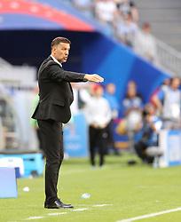 SAMARA, June 17, 2018  Serbia's head coach Mladen Krstajic reacts during a group E match between Costa Rica and Serbia at the 2018 FIFA World Cup in Samara, Russia, June 17, 2018. (Credit Image: © Fei Maohua/Xinhua via ZUMA Wire)