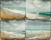 Collage of four textured beach scenes.<br /> Contis-Plage, France<br /> <br /> Prints, iPhoneCases, pillows &amp; more here: http://society6.com/DirkWuestenhagenImagery/Sea-and-Waves-mosaic_Print