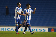 Brighton & Hove Albion central midfielder Beram Kayal (7) and Brighton & Hove Albion centre forward Tomer Hemed (10) celebrate during the The FA Cup match between Brighton and Hove Albion and Milton Keynes Dons at the American Express Community Stadium, Brighton and Hove, England on 7 January 2017.