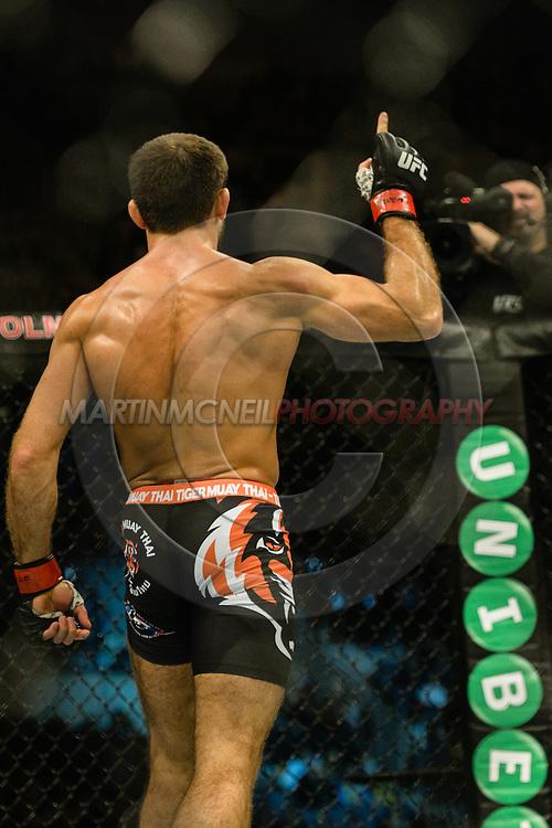 "STOCKHOLM, SWEDEN, JANUARY 24, 2015: Mairbek Taisumov during ""UFC on Fox 14: Gustafsson vs. Johnson"" inside Tele2 Arena in Stockholm, Sweden"