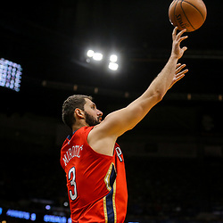 Mar 21, 2018; New Orleans, LA, USA; New Orleans Pelicans forward Nikola Mirotic (3) shoots a three point basket against the Indiana Pacers during the fourth quarter at the Smoothie King Center. The Pelicans defeated the Pacers 96-92. Mandatory Credit: Derick E. Hingle-USA TODAY Sports