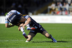 Bristol Rugby's Bryan Rennie tackles Bedford Blues' Sam Stanley  - Photo mandatory by-line: Joe Meredith/JMP - Tel: Mobile: 07966 386802 06/10/2013 - SPORT - FOOTBALL - RUGBY UNION - Memorial Stadium - Bristol - Bristol Rugby V Bedford Blues - The Championship