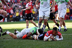 Elton Janties goes over for the try during the semi final of the Vodacom Super Rugby 2016 season between the Lions and the Highlanders held at the Emirates Airline Park in Johannesburg, South Africa on the 30th July 2016Photo by Real Time Images