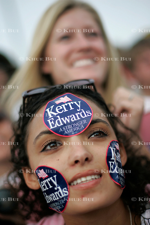 Aja Harbert, 16 yrs. old, attends a Sen. John Kerry rally Tuesday, October 5, 2004, in Denver, CO...Photo by Khue Bui