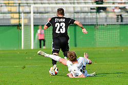 Klemen Sturm of NS Mura vs Leon Crncic of NK Rudar Velenje during football match between NS Mura and NK Rudar Velenje in 13th Round of Prva liga Telekom Slovenije 2018/19, on October 20, 2018 in Mestni stadion Fazanerija, Murska Sobota , Slovenia. Photo by Mario Horvat / Sportida
