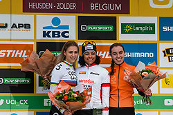 Podium of the Women Under 23 race with 1st ALVARADO Ceylin del Carmen (NED), 2nd VAN DER HEIJDEN Inge (NED) and 3rd VAN ANROOIJ Shirin (NED), 2019 UCI Cyclo-cross World Cup Heusden-Zolder, Belgium, 26 December 2019. <br /> <br /> Photo by Pim Nijland / PelotonPhotos.com <br /> <br /> All photos usage must carry mandatory copyright credit (Peloton Photos | Pim Nijland)
