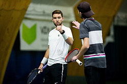 Sven Lah and Toni Hazdovac playing final match during Slovenian men's doubles tennis Championship 2019, on December 29, 2019 in Medvode, Slovenia. Photo by Vid Ponikvar/ Sportida