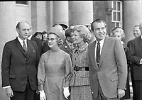 American President Richard Nixon with his wife Pat Nixon and An Taoiseach Jack Lynch with his wife Máirín O'Connor at Dublin Castle for the Luncheon in Honour of the Nixons Visit, circa October 1970 (Part of the Independent Newspapers Ireland/NLI Collection).