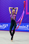 Stoyanova Anna during the qualification of the Pesaro World Cup Group 2018. Anna is a Norwegian gymnast of Bulgarian origins born in Sofia in 2002.
