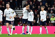 Goal - Naby Keïta (8) of Liverpool celebrates scoring a goal to give a 0-2 lead and is congratulated by Virgil van Dijk (4) of Liverpool  during the Premier League match between Bournemouth and Liverpool at the Vitality Stadium, Bournemouth, England on 7 December 2019.