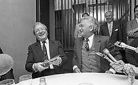 Australian Prime Minister Robert Hawke speaking on arrival at Dublin Airport with Taoiseach Charles Haughey, 18/10/1987 (Part of the Independent Newspapers Ireland/NLI Collection).