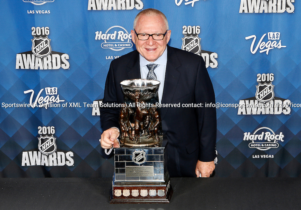2016 June 22: Pittsburgh Penguins general manger Jim Rutherford poses for a photograph after receiving the General Manager of the Year award during the 2016 NHL Awards at the Hard Rock Hotel and Casino in Las Vegas, Nevada. (Photo by Marc Sanchez/Icon Sportswire)