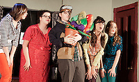 The Ronettes (Jennie Veloski), (Katie Tarr) along with Seymour (Keiran Harpell) holding his new plant (Nicole Rosas) and Kathy Lipshultz) at Mr. Mushnik's Florist during dress rehearsal for Little Shop of Horrors presented by Belmont High School at the Belmont Middle School on Thursday, Friday and Saturday night at 7 pm.  (Karen Bobotas/for the Laconia Daily Sun)