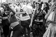 Protestors dancing, Reclaim the Streets, Shepherd's Bush, London, July 1996