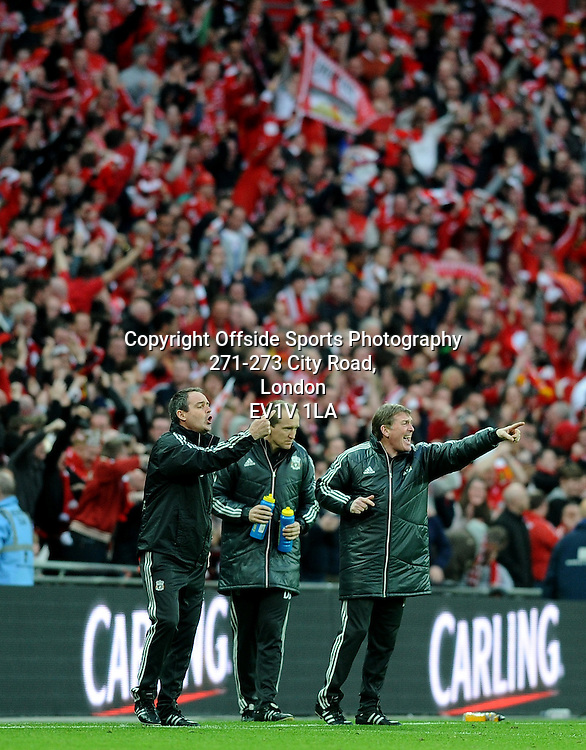 26/02/2012 - Carling Cup Football - Final - 2011-2012  - Cardiff v Liverpool - Liverpool duo Steve Clarke (L) and Kenny Dalglish (R). - Photo: Charlie Crowhurst / Offside.