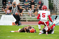 KELOWNA, BC - AUGUST 17: The Westshore Rebels block a pass to Kian ISHANI #8 of Okanagan Sun  at the Apple Bowl on August 17, 2019 in Kelowna, Canada. (Photo by Marissa Baecker/Shoot the Breeze)