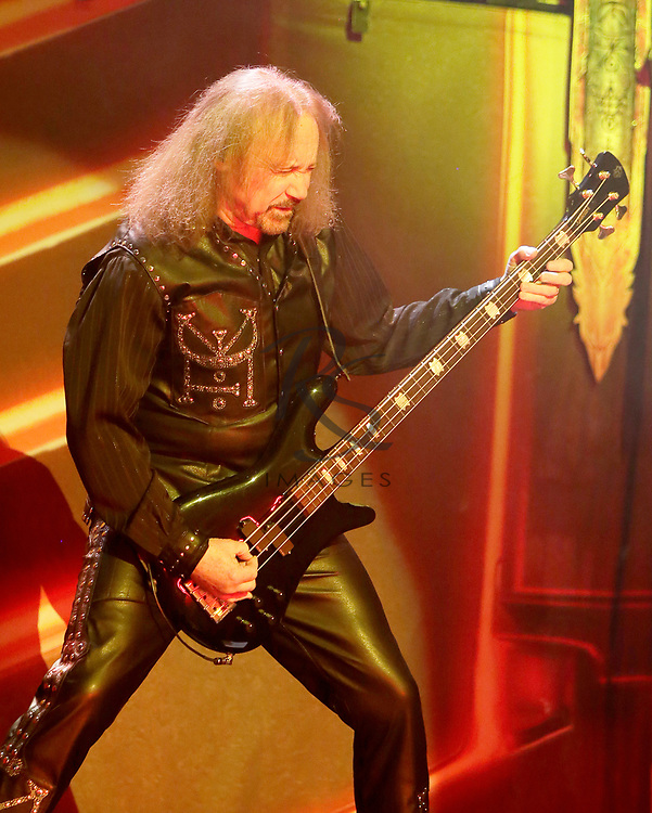 Ian Hill of Judas Priest performs on Tuesday, April 24, 2018, in Phoenix, Arizona. (AP Images/Rick Scuteri)