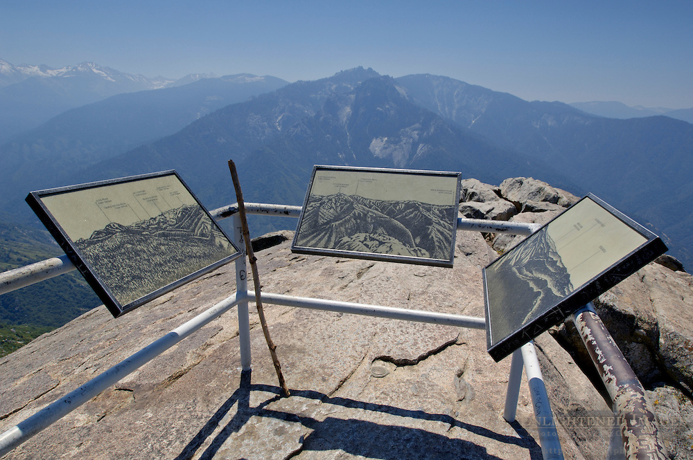 Natural history education signs for tourist hikers on top of Moro Rock, Sequoia National Park, California