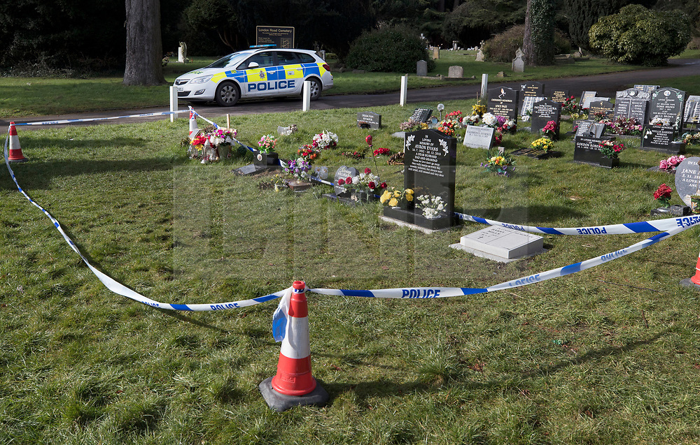 © Licensed to London News Pictures. 08/03/2018. Salisbury, UK. Salisbury. Police cordon tape surrounds the grave of Alexander Skripal, son of former Russian spy Sergei Skripal, in the cemetery in Salisbury. Former Russian spy Sergei Skripal, his daughter Yulia and a policeman are still critically ill after being poisoned with nerve agent. The couple where found unconscious on bench in Salisbury shopping centre. Authorities continue to investigate. Photo credit: Peter Macdiarmid/LNP