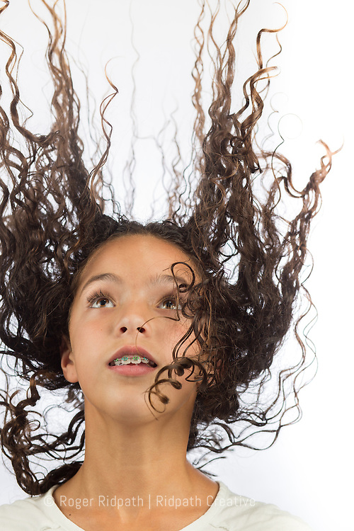 girl with braces and crazy hair portrait