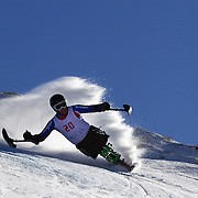 Ian Bishop, Great Britain, in action during the Men's Giant Slalom Sitting, Adaptive competition at Coronet Peak, during the Winter Games. Queenstown, New Zealand, 23rd August 2011. Photo Tim Clayton..