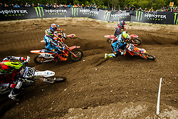 Antonio Cairoli #222 of Italy and Glenn Coldenhoff #259 of Nederland during MXGP Trentino race two, round 5 for MXGP Championship in Pietramurata, Italy on 16th of April, 2017 in Italy. Photo by Grega Valancic / Sportida
