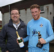 Fairfield's Barry Hegarty recieves the man of the match award from Dundee Sunday FA match secretary Phillip Prophet - Fairfield v Cutty Sark Dundee Sunday FA League Cup Final at Downfield Park<br /> <br />  - &copy; David Young - www.davidyoungphoto.co.uk - email: davidyoungphoto@gmail.com