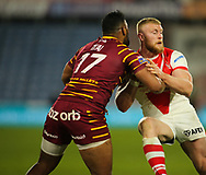 Ukuma Ta&rsquo;ai (L) of Huddersfield Giants tackles Luke Thompson (R) of St Helens during the Betfred Super League match at the John Smiths Stadium, Huddersfield<br /> Picture by Stephen Gaunt/Focus Images Ltd +447904 833202<br /> 23/02/2018