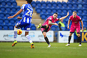 Hartlepool player Nathan Thomas has a shot at goal during the second half  during the EFL Sky Bet League 2 match between Colchester United and Hartlepool United at the Weston Homes Community Stadium, Colchester, England on 25 February 2017. Photo by Ian  Muir.