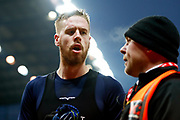 Leeds United defender Pontus Jansson (18) with stewards after handing his shirt to the fans after being sent off during the EFL Sky Bet Championship match between Stoke City and Leeds United at the Bet365 Stadium, Stoke-on-Trent, England on 19 January 2019.