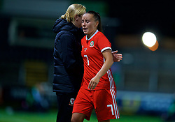 NEWPORT, WALES - Friday, August 31, 2018: Wales' Natasha Harding in tears in the and of the FIFA Women's World Cup 2019 Qualifying Round Group 1 match between Wales and England at Rodney Parade. (Pic by David Rawcliffe/Propaganda)