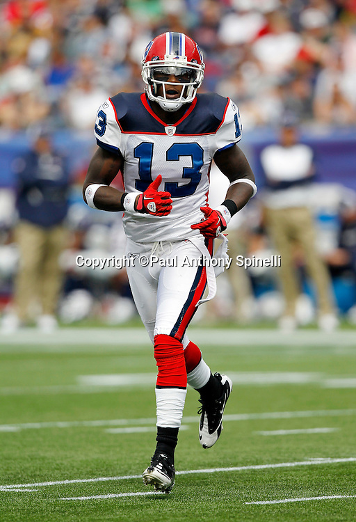 Buffalo Bills wide receiver Steve Johnson (13) goes in motion during the NFL regular season week 3 football game against the New England Patriots on September 26, 2010 in Foxborough, Massachusetts. The Patriots won the game 38-30. (©Paul Anthony Spinelli)