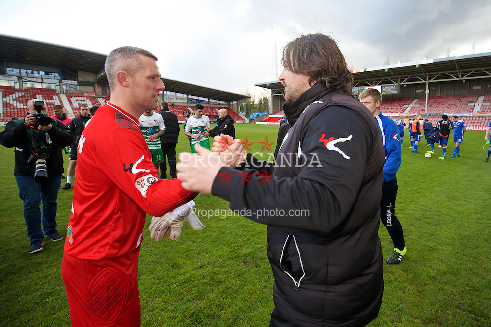WREXHAM, WALES - Monday, May 2, 2016: The New Saints' manager Craig Harrison and goalkeeper Paul Harrison celebrate after the 2-0 victory over Airbus UK Broughton during the 129th Welsh Cup Final at the Racecourse Ground. (Pic by David Rawcliffe/Propaganda)
